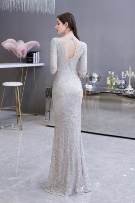 Lindo prata mangas compridas barato longo vestido de baile_9