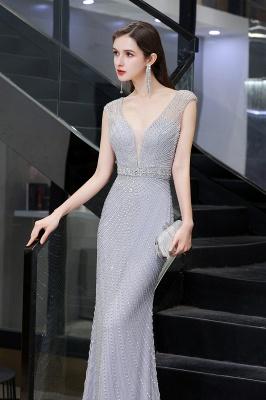 Sexy Mermaid V-neck Silver Mermaid Prom Dress_10