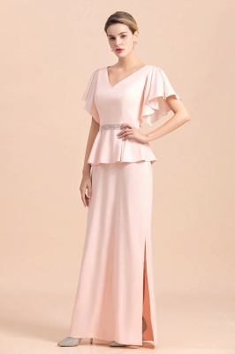Cap sleeves V-neck Pink Two pieces Long mother of the bride dress_5
