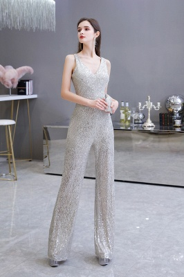Sexy Shining V-neck Silver Sequin Sleeveless Prom Jumpsuit_9