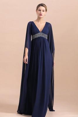 Azul marino oscuro Escote en V profundo Cintura alta Una línea Cinturón moldeado Vestidos para madre_6