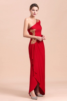 One shoulder long sleeves red pleats Plus size Mother of the bride dress_6