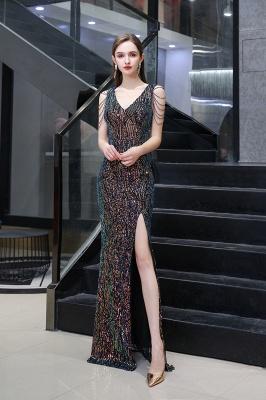 Vestido de noche negro sin mangas con escote en V y escote en V alto en línea_2