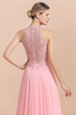 Modest Pink Pears Beaded A-line Halter Bridesmaid Dresses_5