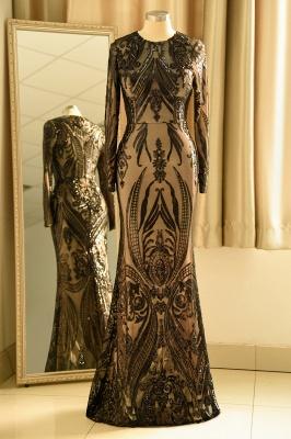 Vestido de fiesta de lujo con cuello redondo y lentejuelas negras_4