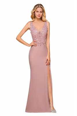 Charming 3D Lace Appliques Mermaid Prom Dress Sleeveless Floor Length Side Slit Evening Gown_9