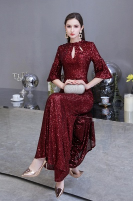 Glittering Half Sleeves Keyhole Mermaid Long Burgundy Prom Dress_6
