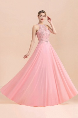 Modest Pink Pears Beaded A-line Halter Bridesmaid Dresses_21