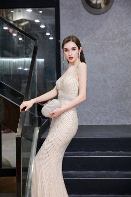 Sexy Mermaid V-neck Silver Mermaid Prom Dress_21