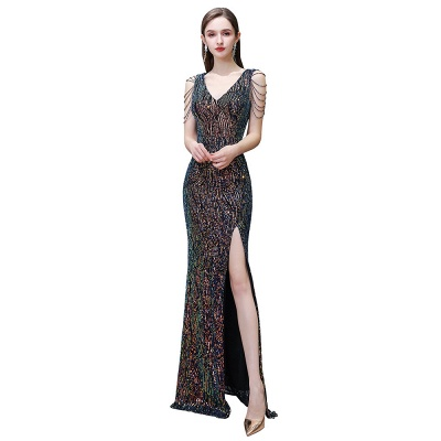 Sparkle V-neck High split Sleeveless Black Evening Dress Online_3