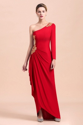 One shoulder long sleeves red pleats Plus size Mother of the bride dress_5