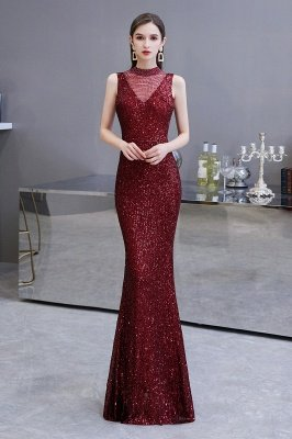 Elegant Illusion neck Burgundy Sleeveless Mermaid Prom Dress