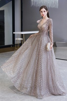 Modest Long sleeves V-neck Princess Prom Dress_4
