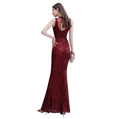 Élégante robe de bal sirène sans manches à col illusion bordeaux_12