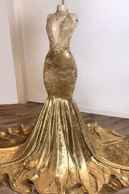 Shinning Champagne Gold Deep V-Ausschnitt Court Train Mermaid Prom Kleider_1