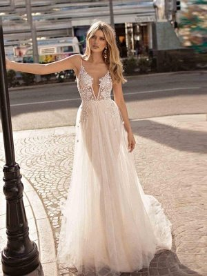 Spaghetti Straps Deep V-neck Beads Wedding Dresses   Sexy Backless Tulle Bridal Gowns_1
