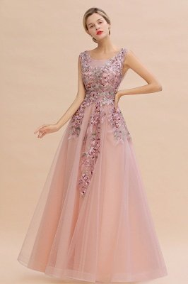 Sleeveless Crew Neck Tulle Floral Appliques Evening Party Dress Floor Length Aline Party Dress
