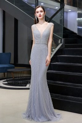 Sexy Mermaid V-neck Silver Mermaid Prom Dress