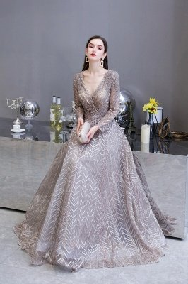 Modest Long sleeves V-neck Princess Prom Dress_16