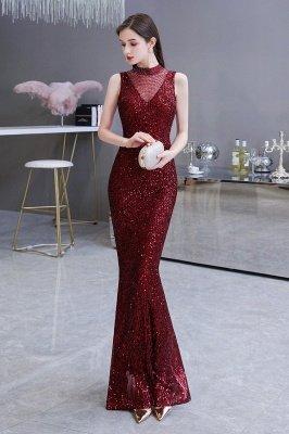 Elegante vestido de fiesta de sirena sin mangas con cuello de ilusión burdeos_6