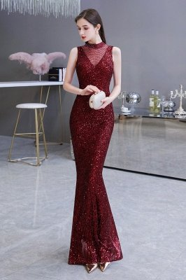 Elegant Illusion neck Burgundy Sleeveless Mermaid Prom Dress_6