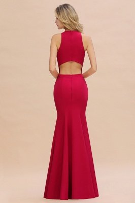 Sexy Halter Mermaid Evening Maxi Gown Side Slit Party Dress_11