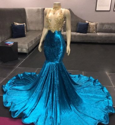 High Neck Illusion Neckline Sleeveless Long Train Appliqued Mermaid Prom Gowns_3