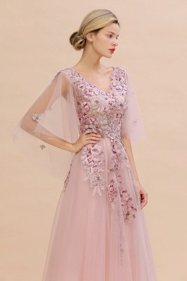 Ruffy Sleeves aline Romantic Tulle Evening Maxi Gown Pearl Lace Appliques Party Dress_5