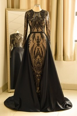 Luxury Round neck Black Sequined Overskirt Prom Dress