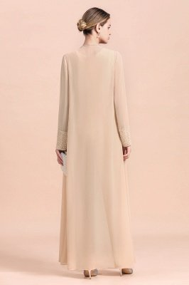 Champagne Long sleeves Jacket Chiffon Mother of the Bride Jumpsuit_3