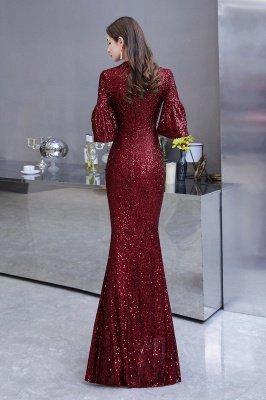 Glitzernde Half Sleeves Keyhole Mermaid Long Burgund Prom Kleid_8