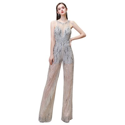Sparkle Illusion High neck See-through Prom Jumpsuit_13