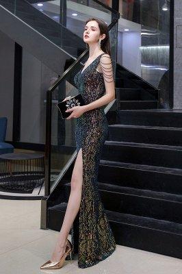 Sparkle V-neck High split Sleeveless Black Evening Dress Online_11