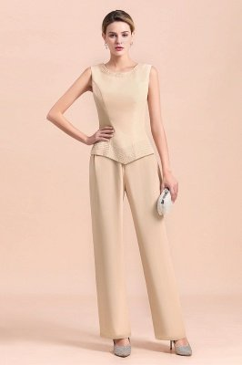 Champagne Long sleeves Jacket Chiffon Mother of the Bride Jumpsuit_7
