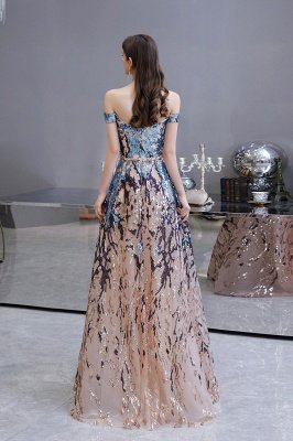 Sparkle Off the hombro Vestido de fiesta largo con lentejuelas arcoíris_10