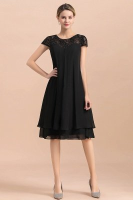 Черное кружевное платье с короткими рукавами для свадебной вечеринки, шифоновое платье длиной до колен