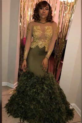Sexy Crew Neck Long Sleeve Feather Puffy Train Dark Green Prom Dress