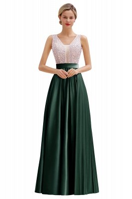 Arik | Simple Pearl pink Sequined Belt Pleats Long Prom Dress_5