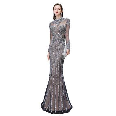 Mangas de lujo de la chispa del casquillo cuentas de cuello alto vestidos largos de baile_11