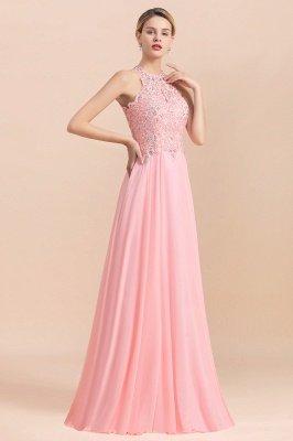 Robes de demoiselle d'honneur licou A-ligne de perles de poires roses modestes_18