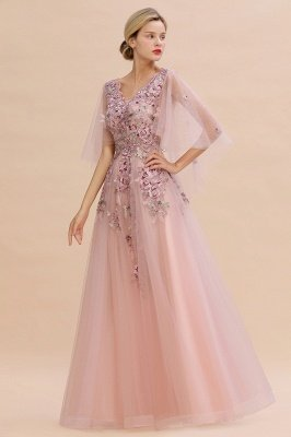 Ruffy Sleeves aline Romantic Tulle Evening Maxi Gown Pearl Lace Appliques Party Dress_1