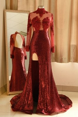 Modern High neck burgundy Sexy Split Open back Prom Dress