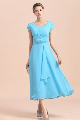 Cap sleeves Ankle-length light blue round neck chiffion mother dresses