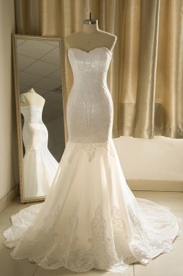 Sweetheart White Mermaid Sparkle Court Train Wedding Dress