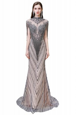 Cap sleeves High neck Sparkle Beads Long Prom Dresses Online_11