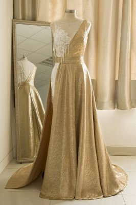Sparkle Gold One shoulder Lace Sequined Prom Dress with Belt