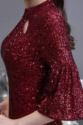 Glitzernde Half Sleeves Keyhole Mermaid Long Burgund Prom Kleid_11
