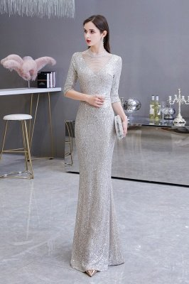 Gorgeous Silver Long sleeves Long Prom Dress_14
