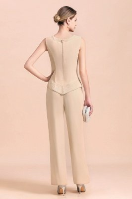 Champagne Long sleeves Jacket Chiffon Mother of the Bride Jumpsuit_8