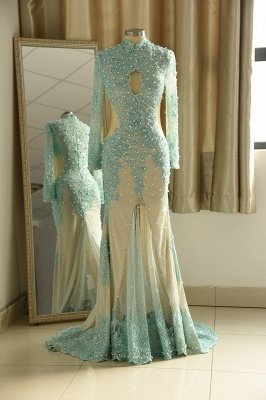 Elegant High neck  Keyhole Long sleeve Long Mint Green Lace Prom Dress